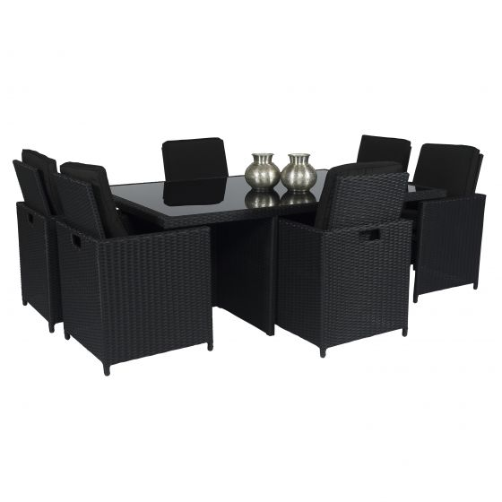 Luxe Loungeset Zwart.Dining Loungeset Cube Xl 6 Personen Wicker Zwart Pure Garden Living