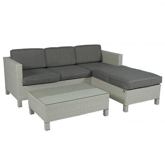 Chaise Longue Hoekbank.Hoekbank Lima Loungeset 3 Zits Wicker Lichtgrijs Pure Garden Living