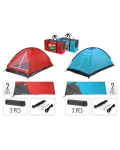 2-Persoons Campingset inclusief tent, 2 slaapzakken, 2 slaapmatjes + draagtas