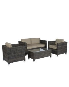 Loungeset wicker zithoek bruin Pure Garden & Living