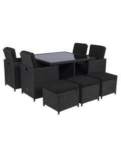"""Dining loungeset """"Cube"""" wicker zwart - Pure Garden & Living"""