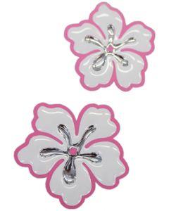 Hibiscus 3d chroom sticker