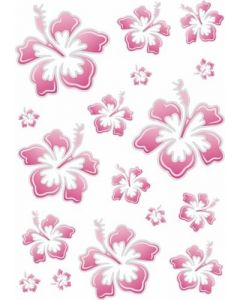 Hibiscus roze sticker 20x30