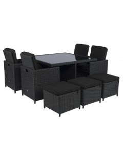 Cube dining loungeset wicker zwart Pure Garden & Living