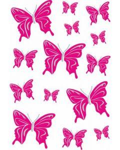 Vlinder roze/zilver sticker