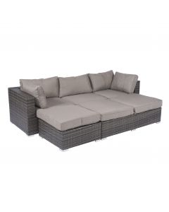 "Wicker loungeset / ligbed ""Tripoli"" bruin/grijs - Pure Garden & Living"