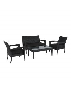 Loungeset wicker zithoek zwart Pure Garden & Living