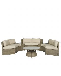 "Loungeset wicker hoekbank halfrond ""Honolulu"" - Nature - Pure Garden & Living"