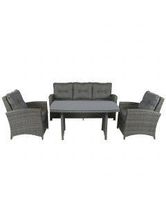 Norway loungeset wicker grijs Pure Garden & Living