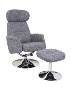 Relaxfauteuil met voetenbank grijs