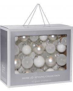 Kerstballen 42 stuks Wit