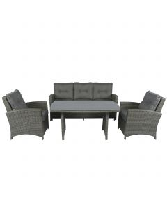 "Loungeset Wicker ""Norway"" - donkergrijs"