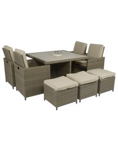 """Dining loungeset """"Cube"""" wicker nature - Pure Garden & Living"""