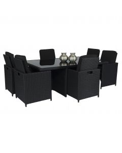 "Dining loungeset ""Cube XL"" 6 personen wicker zwart - Pure Garden & Living"