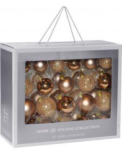 Kerstballen set 42 stuks koper