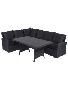 Loungeset hoekbank wicker zwart Pure Garden & Living