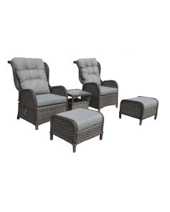 Loungeset Kingset Wicker Antraciet