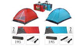 Campingset inclusief tent, 2 slaapzakken, 2 slaapmatjes + draagtas